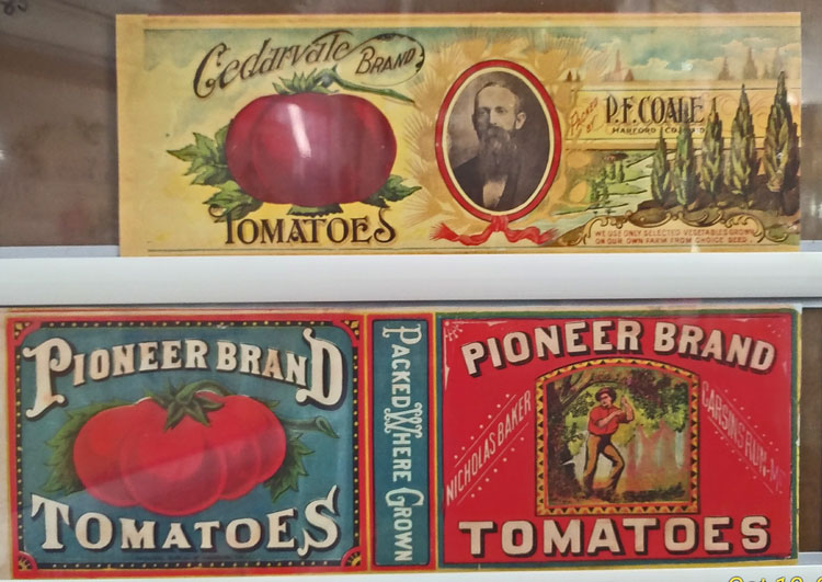 decoupage old canning labels from Bahoukas in Havre de Grace