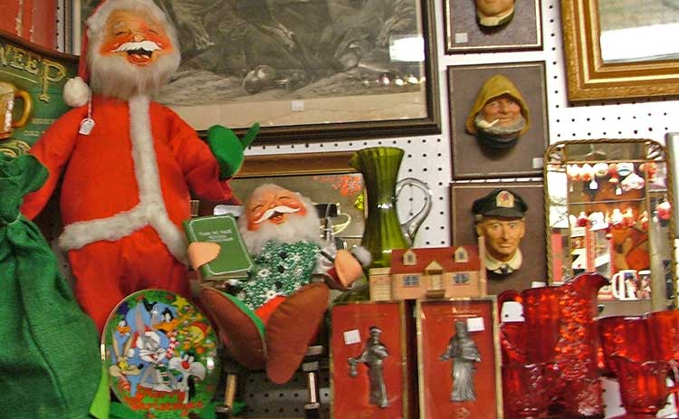 Funny Santas, Singing Santas, and beautiful collectible Santas all at Bahoukas Antique Mall in Havre de Grace