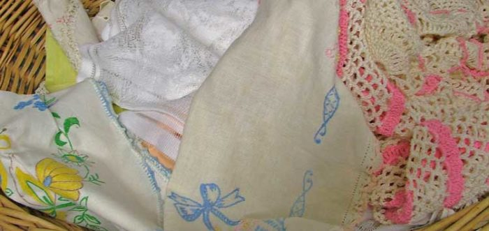 lace doilies and hankies at Bahoukas Antique Mall