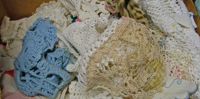 lace, corchet, doiiles and hankies at Bahoukas in Havre de Grace