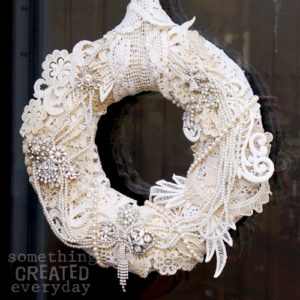 lace and rhinestone wreath - all the fixin's available at Bahoukas