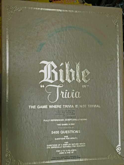 Bible Trivia game at Bhaoukas Antiques