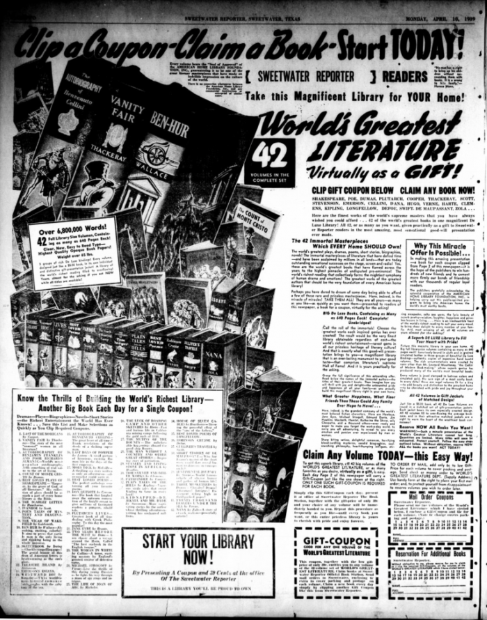 newspaper ad for World's Greatest Literature Series by Spencer Press