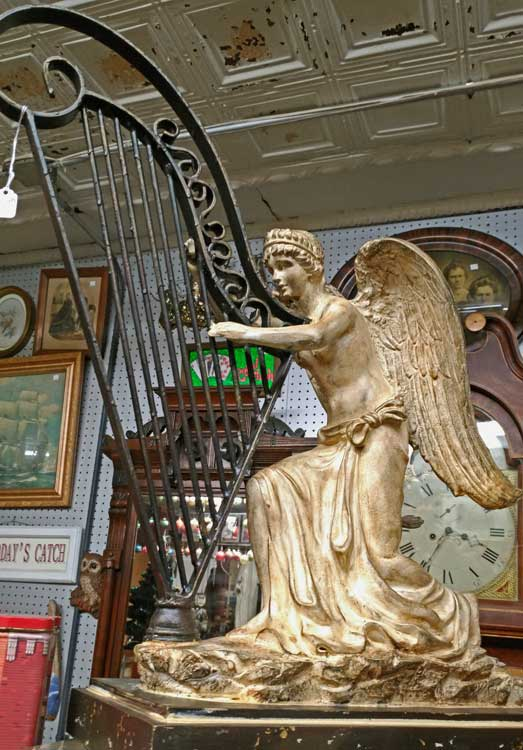 beautiful angel with harp sculpture just in time for the holidays at Bahoukas in Havre de Grace
