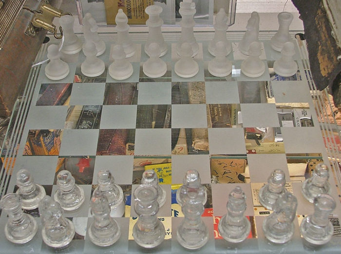 Beautiful glass chess set at Bahoukas - a beautiful holiday gift