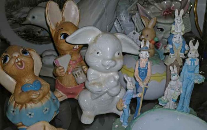 Collection of tiny bunnies, bunny figurines
