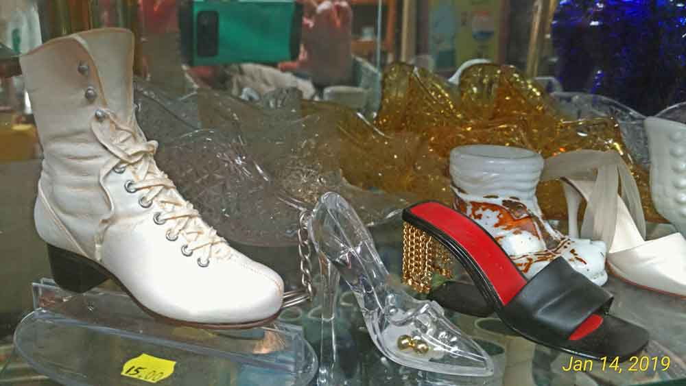 tiny shoes collection at Bahoukas in Havre de Grace - notice the tiny ice skate!!!