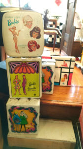 A variety of Barbie cases for the Barbie Doll enthusiast ... or maybe a special little girl! All part of the Barbie Doll collection at Bahoukas Antiques in Havre de Grace