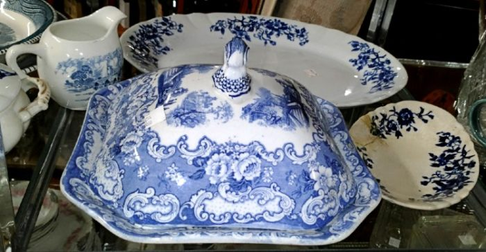 Beautiful blue and white platter, pitcher, and square covered serving dish at Bahoukas.