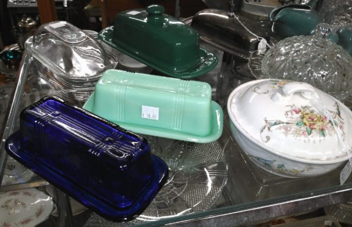 beautiful covered butter dishes and a small flowered tureen at Bahoukas in Havre de Grace