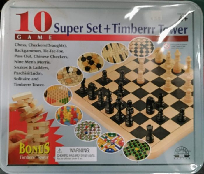 A tin of boards games - 10 amazing games + Timberrrr Tower at Bahoukas