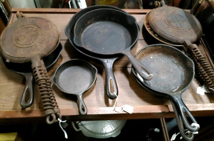assortment of cast iron pans at Bahoukas in Havre de Grace