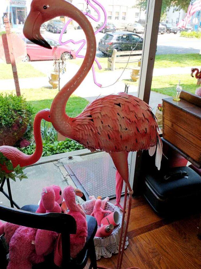4' high beautiful tin, pink  flamingo sculpture at Bahoukas in Havre de Grace