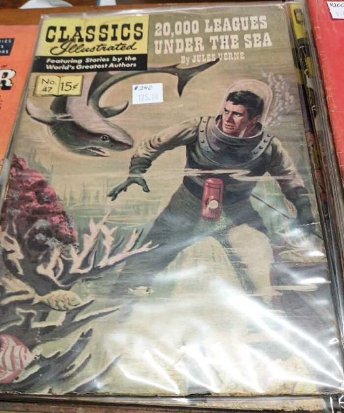 Very collectible Classics Illustrated comic #47: 20,000 Leagues Under the Sea by Jules Verne at Bahoukas Antiques in Havre de Grace, MD