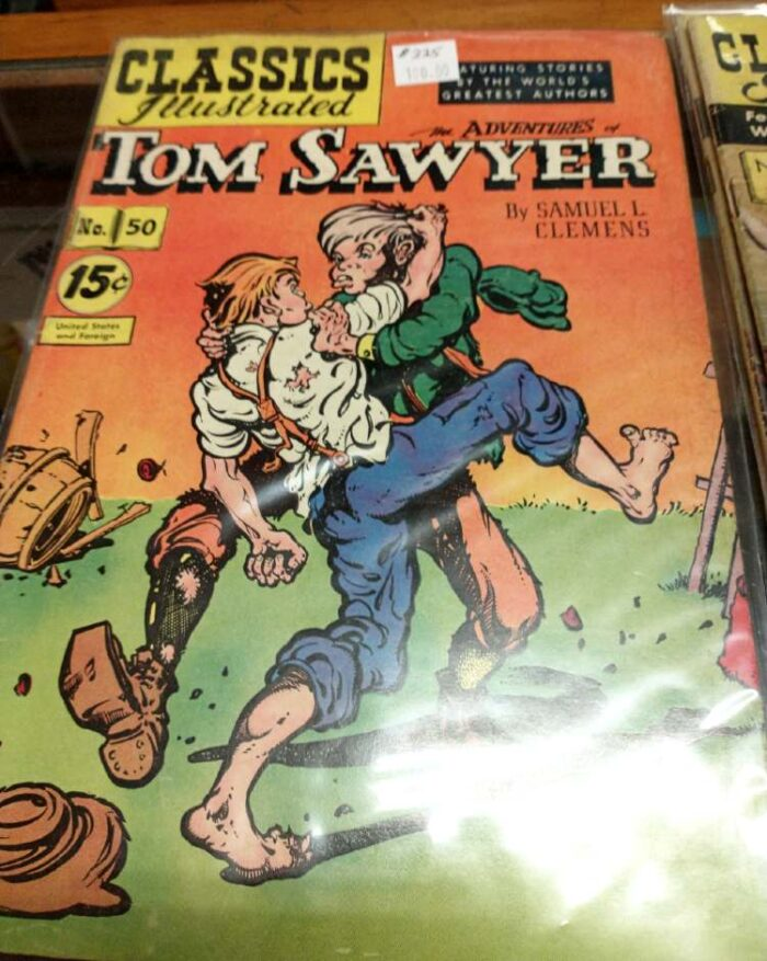 Very collectible Classics Illustrated comic #50: The Adentures of Tom Sawyer by Samuel L Clemens at Bahoukas Antiques in Havre de Grace, MD