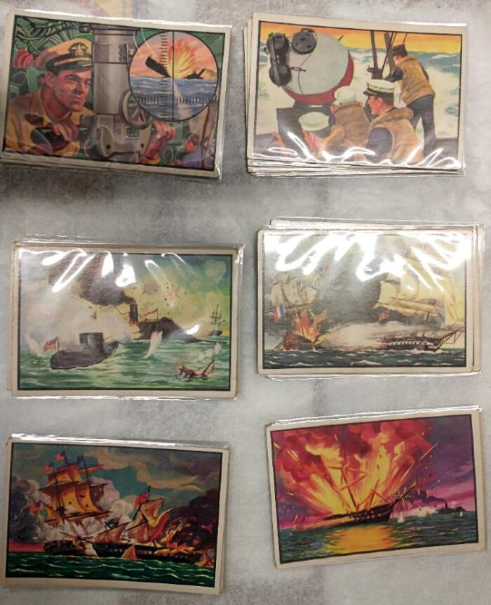 Bowman's U.S. Navy Victories Trading Cards from the 1950s.