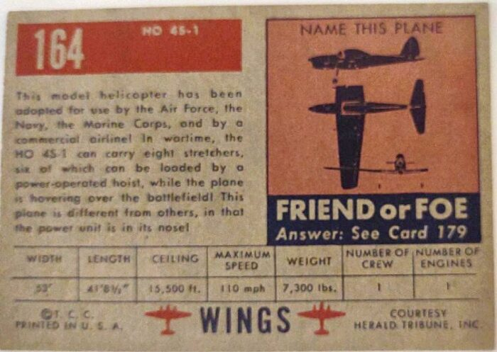 back side of TOPPS WINGS series card #64  HO 4S - 1 U.S. Navy Helicopter