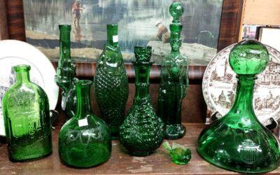 New: Green Glass Figural Bottles