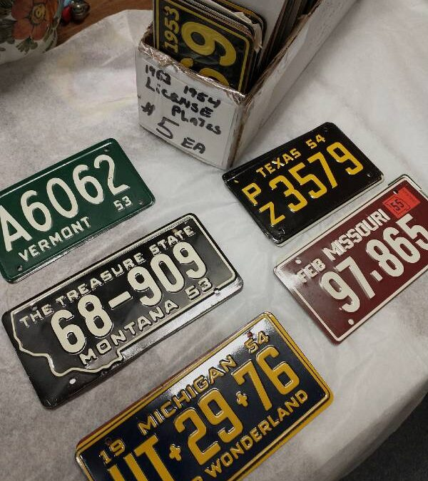 Metal mini license plates found as prizes in Wheaties cereal 1950s