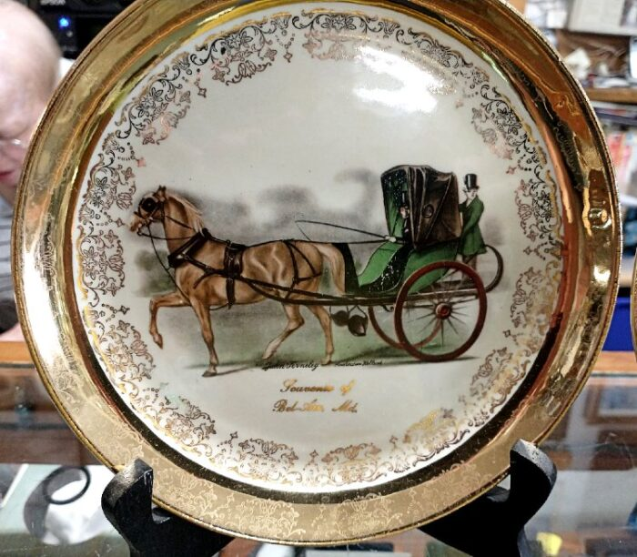 Souvenir plate for Bel Air, MD from the Sabina Line with 22k gold trim and artwork by John Ferneley.