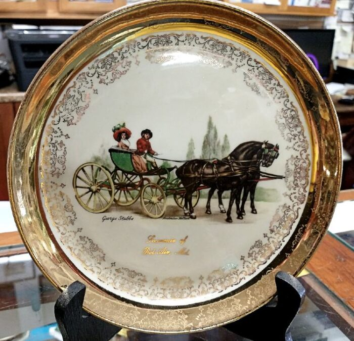 The Sabina Line of souvenir plates for Bel Air, MD. 22k gold trim - artwork by George Stubbs. Available at Bahoukas in Havre de Grace, MD