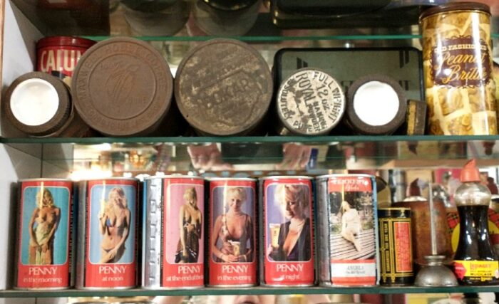 Collectible tins/cans at Bahoukas in Havre de Grace