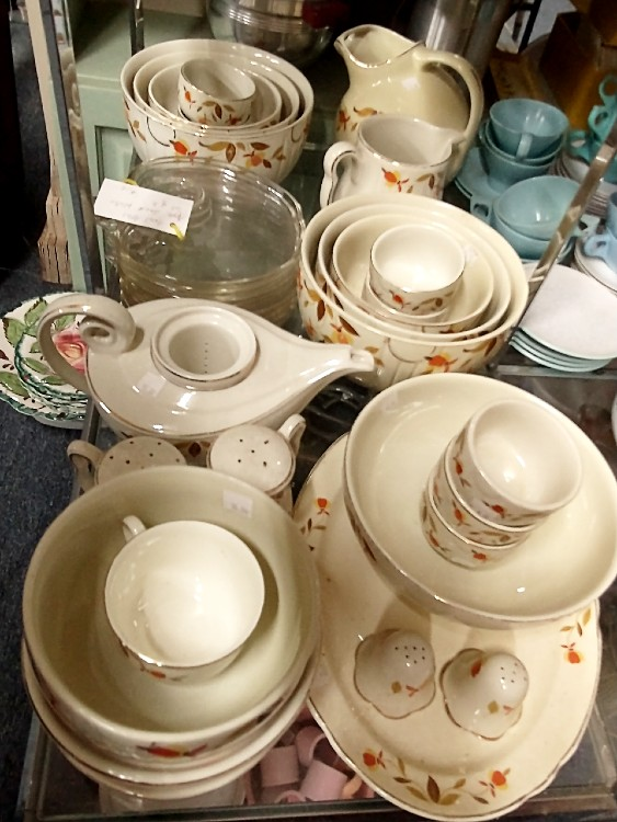 A set of Autumn Leaves pattern dishware used as premiums for the Jewel Tea Co. at Bahoukas in Havre de Grace.