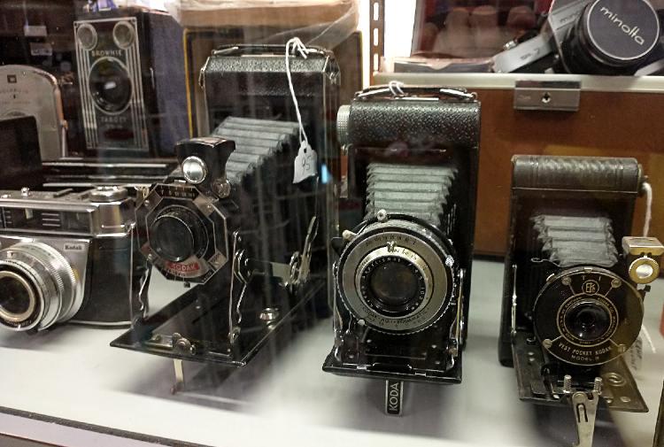 Vintage cameras at Bahoukas in Havre de Grace