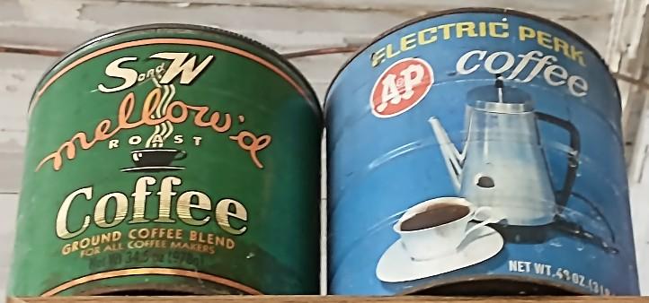 collectible coffee tins at Bahoukas