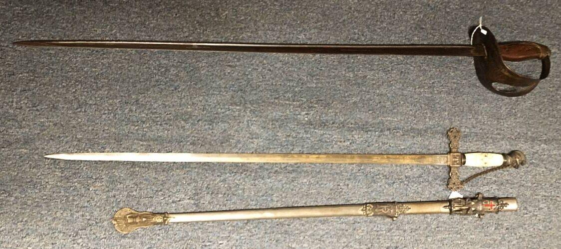 U.S. Naval Cutlass - Civil War period and Ceremonial Sword of Knights Templar.