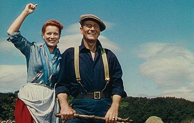 John Wayne with Maureen O'Hara in The Quiet Man movie
