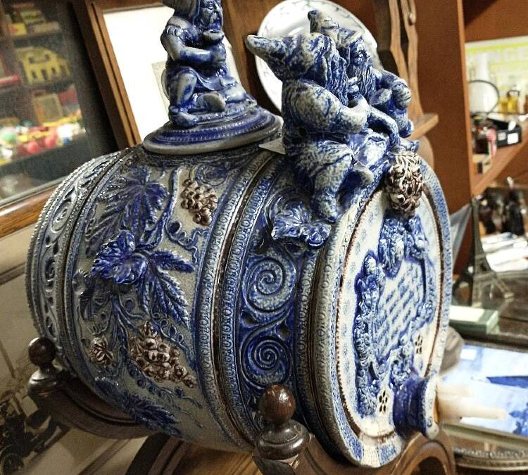 German Cobalt Blue and White Stoneware Wine Cask with spout