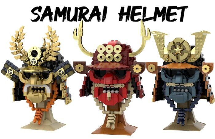 Photo of Samurai Helmets made from legos from the Lego Ideas site.