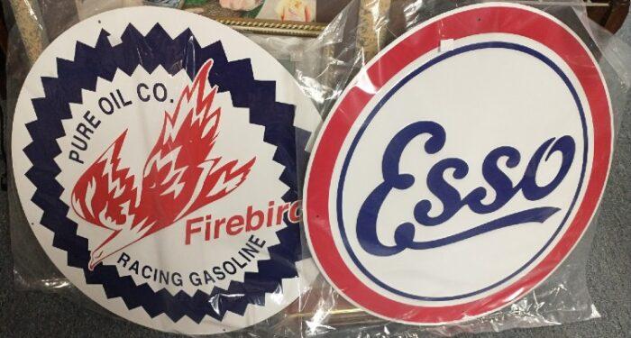Reproduction gasoline signs - Firebird, Esso - at Bahoukas in Havre de Grace