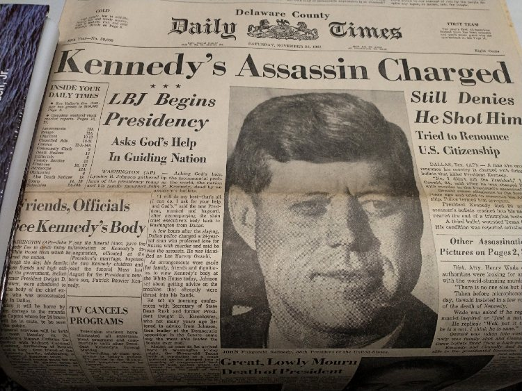 Kennedy Assassination in Delaware County Daily News Nov 23, 1963
