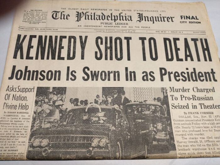 Photo of the newspaper: The Philadelphia Inquirer of Nov, 23, 1963 - Kennedy Shot to Death - Johnson is Sworn in as President