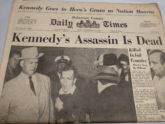 newspaper Delaware County Daily Times, Mon. Nov 25, 1963 Headline: Kennedy's Assassin Is Dead