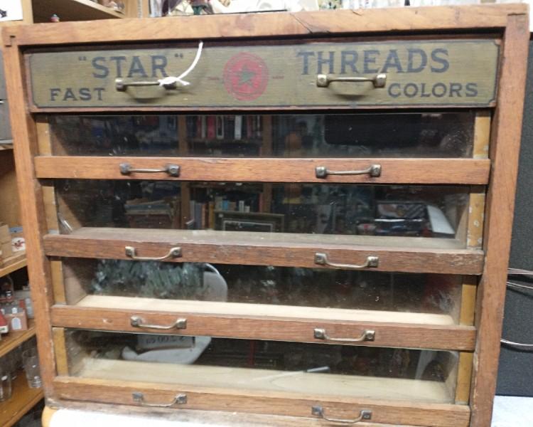 1800s Star Thread Antique Sewing Thread Cabinet