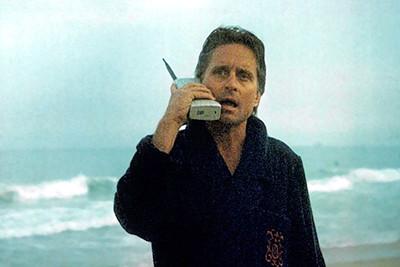 scene from the movie Wall Street with Gordon Gekko talking on his Motorola DynaTAC phone!