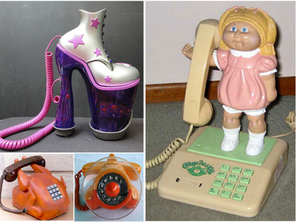 A variety of decorative phones that include Cabbage Patch Doll image, turkey, airplane, and Fashion Shoe.